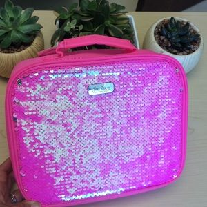 Justice reversible sequin pink lunch box